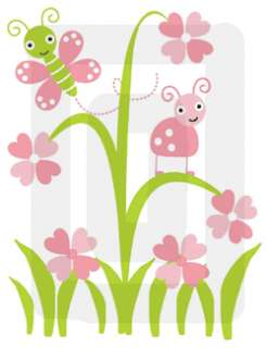 PINK GREEN FLOWER BABY GIRL NURSERY WALL PRINT FRAME