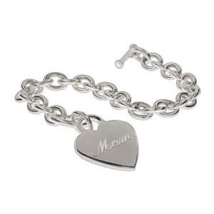 Engravable Sterling Silver Heart Tag Bracelet Length 8 inches (Lengths