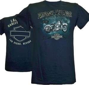 Harley Davidson Las Vegas Dealer Tee T Shirt BLUE SMALL #BRAVA1
