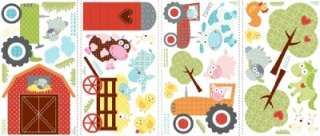 New FARM ANIMALS WALL DECALS Kids Pigs Cows Stickers 034878937717