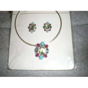 jewelry multi color stone earring and necklace set