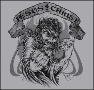 JESUS CHRIST MACHINE FLASH GUN PUNK TATTOO T SHIRT S XX