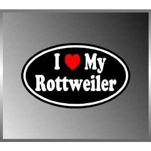 I Heart Love My Rottweiler Vinyl Euro Decal Bumper Sticker
