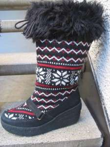 JUICY COUTURE RED WHITE BLACK WEDGE WINTER SWEATER BOOTS 9