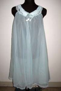 RADCLIFFE double chiffon Nightgown 1960s 60s vtg S M nylon gown sweep