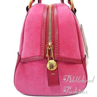 Juicy Couture Bowler Bag Pink Velour ~FLOWER CREST~ Tote w/Butterfly