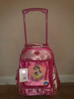 Your child will love this Cinderella Rolling backpack. Lavender or