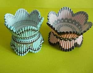 brown turquiose black petals cupcake liners baking paper cup