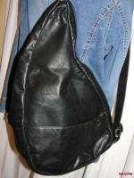 BFS03~Black Leather Ergonomic Shoulder Bag Backpack Tote