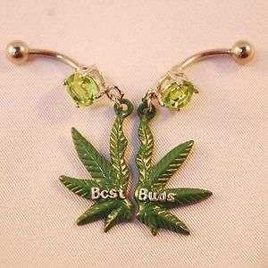 pot marijuana leaf navel green weed cz best buds budz set pair 420