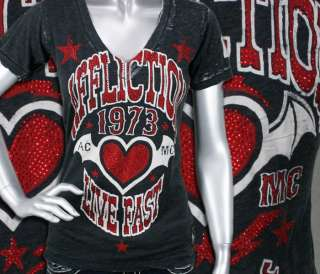 AFFLICTION womens T shirt DARK HEART baby T Black burnout Crystals