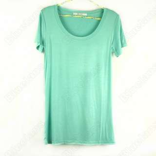 Women Junior Basic Plain Short Sleeve Crew Round TEE Stretch T Shirts