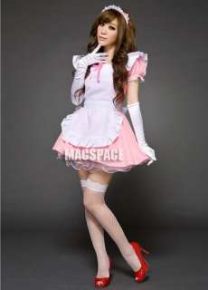 White Pink Halloween Japanese Maid Lolita Costume