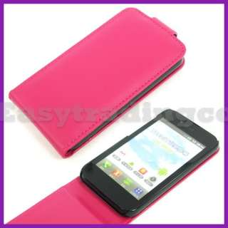 Hot Pink Flip Leather Case Cover for LG Optimus Black P970
