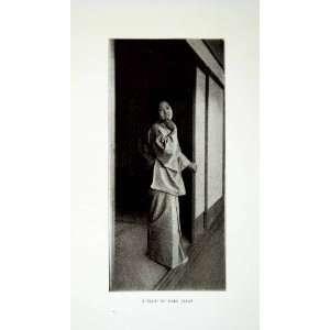 1922 Print Maid Of Fair Japan Onna Woman Kimono Yukata