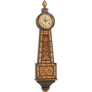 Wood Wall Clock with Inlaid Glass   Traditional