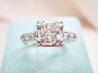 14K WHITE GOLD OLD EUROPEAN CUT DIAMOND SOLITAIRE ENGAGEMENT RING