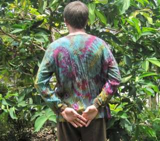 Psychedelic Tie Dyes Mens Long Sleeve Open Shirt #B XL