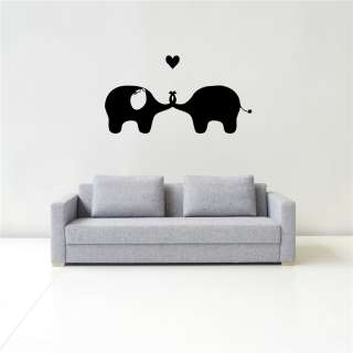 STICKER DECALS ART MURAL CARTOON KISSING ELEPHANTS IN LOVE HEARTN53