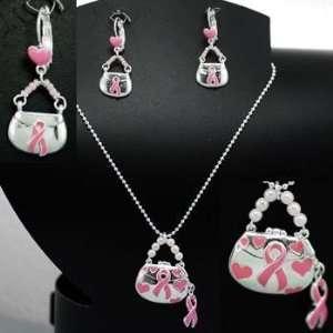 Pink Ribbon ~ Dangling Purse Necklace/Earring Set