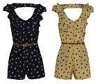 WOMENS LADIES BIRD PRINT BELTED FRILL STYLE BACK CUTOUT PLAYSUIT UK
