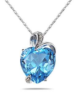 14k Gold Blue Topaz Diamond Accent Heart Necklace