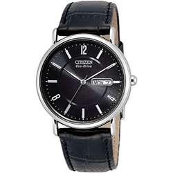 Citizen Eco Drive Mens Black Leather Strap Watch