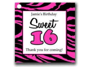 Sweet 16 Birthday Party Favors Tags Pink Zebra Print