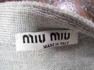 Miu Miu Light Gray Long Sleeve Hidden Button Down Cardigan W/Belt 42