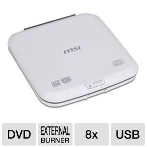 MSI External Slim Top Load USB 2.0 DVD/CD Writer UO882 WT