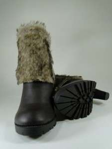 New Womens Brown/Tan Faux Fur Cuff Ankle High Heel Boots Sz 9 #F52