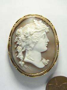ANTIQUE NATURAL CARVED SHELL CAMEO BACCHANTE MEMENTO LOCKET PIN BROOCH