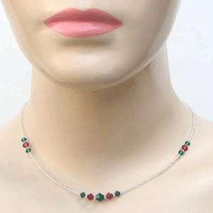 Ruby Emerald Swarovski Crystal, Gemstone Beaded Necklace 925 Silver
