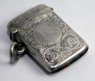 GOOD ANTIQUE HM STERLING SILVER VESTA CASE MATCH SAFE BIRMINGHAM 1901