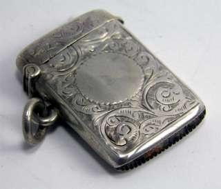 GOOD ANTIQUE HM STERLING SILVER VESTA CASE MATCH SAFE BIRMINGHAM 1901