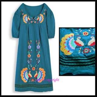 Bird PEACOCK Embroidered MEXICAN Hippie dress BOHO LONG TOP Navy Green