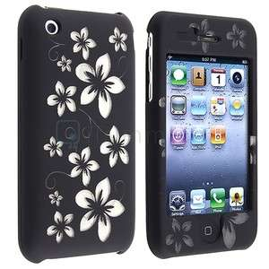 Black FLOWER HARD COVER Case Skin PROTECTOR Accessory For Apple IPHONE