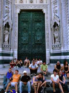 People Sitting on Steps Outside Main Door of Duomo, Florence, Tuscany