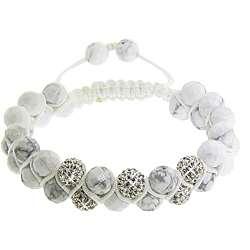 Howlite and White Crystal Macrame Friendship Bracelet