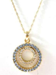 NEW DESIGNER Gold Tone Blue White Crystal Necklace
