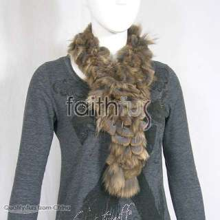 This is a real rex rabbit fur with racoon fur mixed scarf for ladies.A