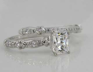 74 CTW EMERALD RADIANT CUT WEDDING RING SET W/ACCENTS SOLID 14K GOLD