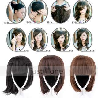Women Lady Chic Hair BOB Style Head Decoration Short Straight Wig with