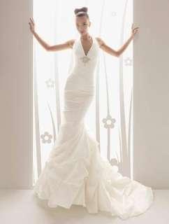 mermaid Halter custom bridal wedding dress gown V neck backless ball