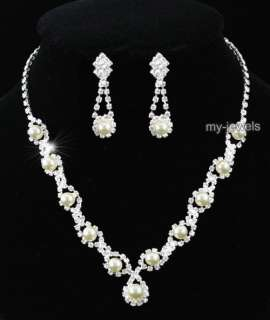 Bridal Wedding Ivory / Cream Faux Pearl Necklace Earrings Set S1164