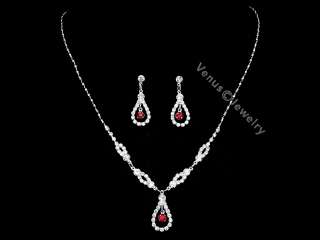 Wedding Prom Bridesmaid Rhinestone Crystal Necklace Earrings set 1283
