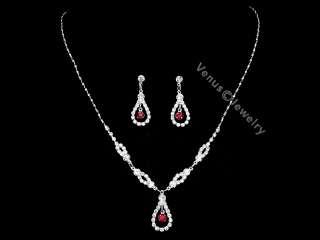Wedding Prom Bridesmaid Rhinestone Crystal Necklace Earrings set 1283