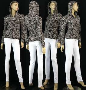 New Womens Animal Cheetah Print Hoodie Jacket Casual Ladies Long