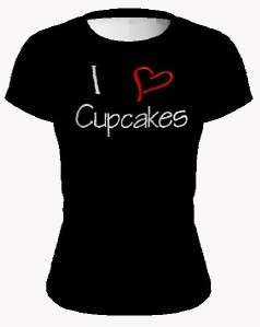 Love heart Cupcakes Novelty Tee Shirt BLACK RED WHITE