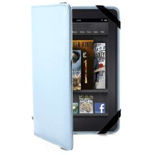 Blue Leather Folio Flip Carry Cover Case Pouch for  Kindle Fire